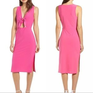 Leith Hot Pink Tie Front Midi Dress NWT